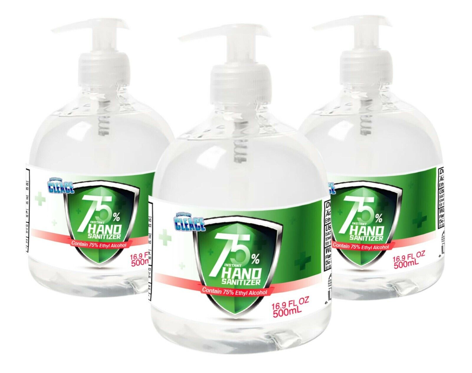 [3-PACK] Cleace Advanced 75% Alcohol Hand Sanitizer Gel, Large 16.9 Fl. Oz x 3 Hand Sanitizers