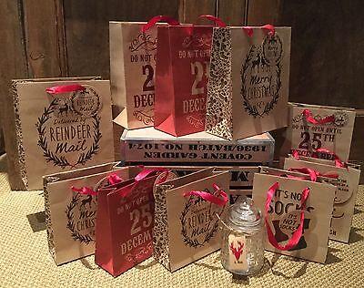 Paper Bag Reindeer (Vintage Style Brown Paper Gift Bags Do Not Open Until 25th Fun Reindeer)