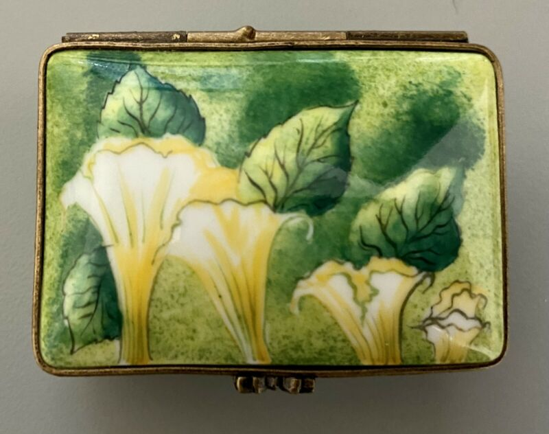 Limoges Peint Main Yellow Flowers Handmade Collector