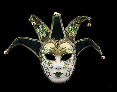 Mask Venice Volto Jolly Green to 5 nails -disguise and decoration - 2183