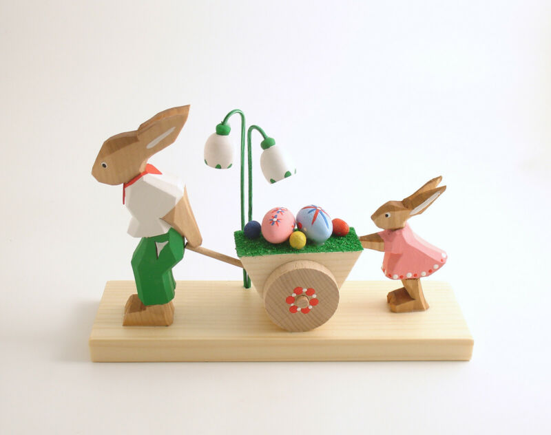 Easter Decoration Bunny Rabbit Egg Cart Wood Erzgebirge Germany