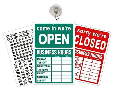 Open Closed Sign Store Business Hours Window Door Sign Open Green Closed Red