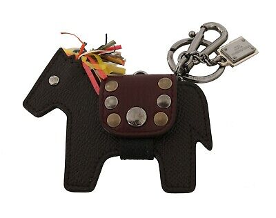 DOLCE & GABBANA Keychain Leather Brown Horse Pony Studded Keyring RRP $350