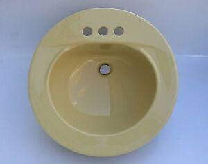 vintage eljer heavyweight 4 center 19 round lavatory sink in creamy yellow - Eljer Kitchen Sinks
