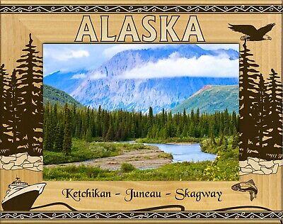 Wood Engraved Frame - Alaska-Ketchikan-Juneau-Skagway Laser Engraved Wood Picture Frame (5 x 7)