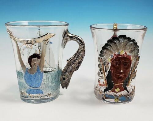 Westmoreland 1903 1904 Shriner Convention Souvenir Glass Mugs Indian Syria EAPG