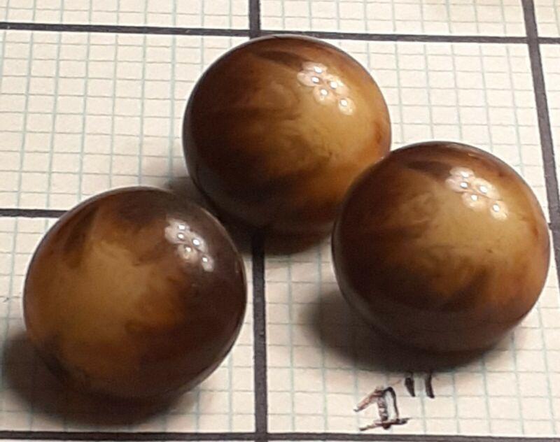 Vintage SET 3 UNUSUAL ROUND BROWN/MARBLED BAKELITE/VEG IVORY/SHELL?  Buttons~