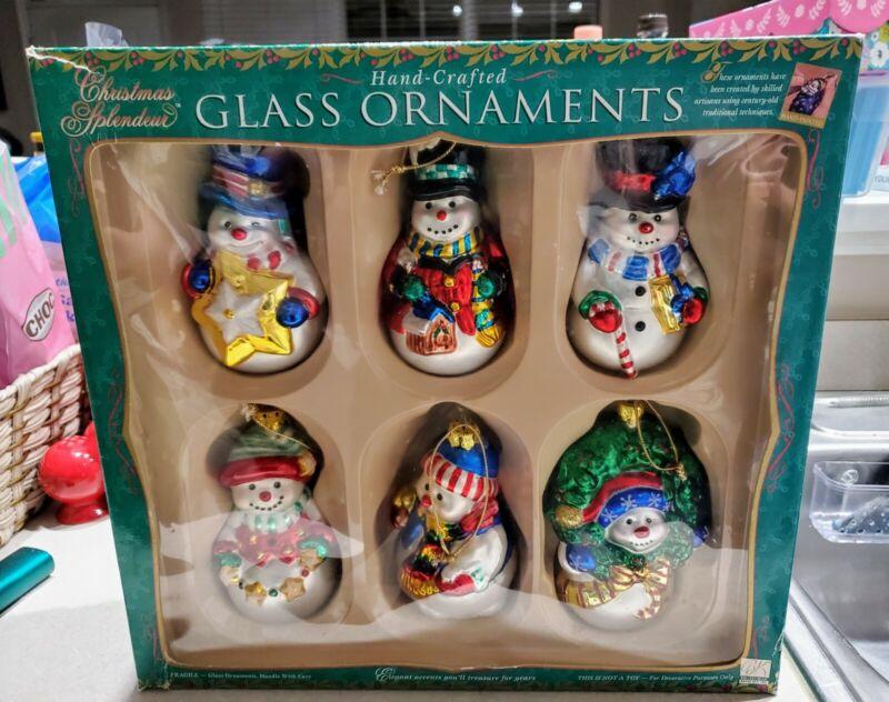 Brass Key Glass SNOWMAN Christmas Splendeur Ornaments 6 In Box