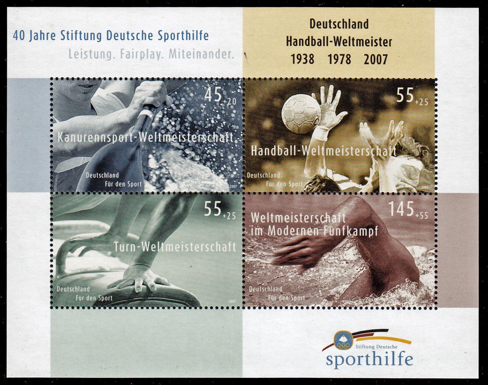 Bundesrepublik Block 70 ** 40 Jahre Deutsche Sporthilfe