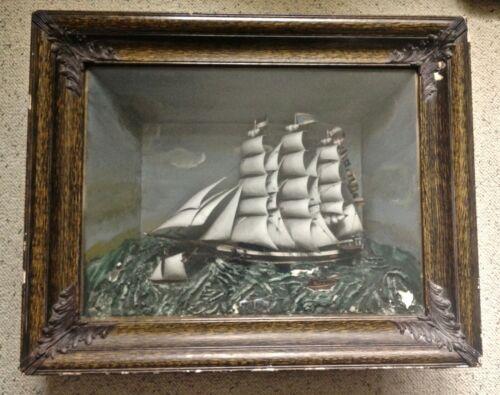Vintage 1890-1900 Sailing Ship Diorama Old Antique Shadow Box Nice LOOK & READ