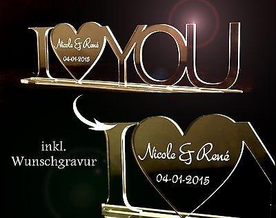 1 Aufsteller I LOVE YOU mit Wunschgravur Acryl Liebe Hochzeit Valentinstag