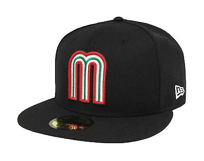 Black Fitted Baseball Hat Cap - New Era 59Fifty Cap Mexico World Baseball Classic Black Fitted Hat