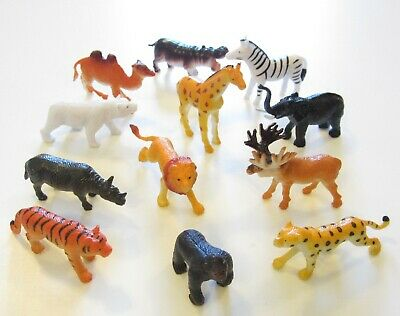 12 NEW ZOO ANIMALS TOY PLAYSET SAFARI JUNGLE ANIMAL PARTY FAVORS TIGER LION - Jungle Animal Toys