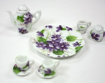LITTLEST TEA SET PURPLE FLOWERS TEAPOT SUGAR BOWL CREAMER 2 TEACUPS PLATTER