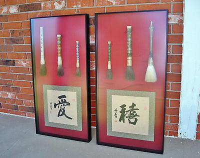 Shadow Box Chinese Jade & Porcelain Brush w/ Calligraphy by Li Dan-Qing, Beijing