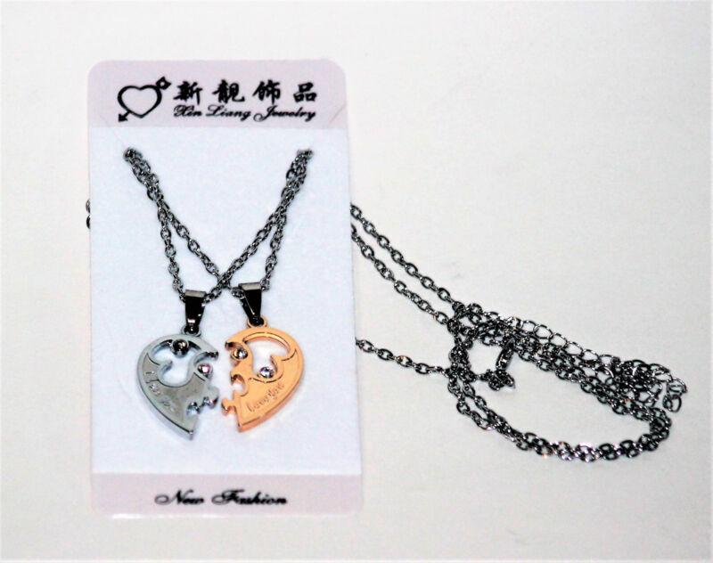 NECKLACE SET ROMANCE I LOVE YOU  HEART FRIENDSHIP, JEWELRY SILVER & GOLDTONE