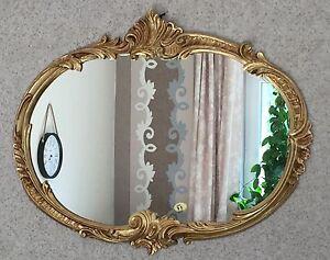 Wandspiegel barock oval antik gold 52x42 badspiegel - Specchio antico ovale ...