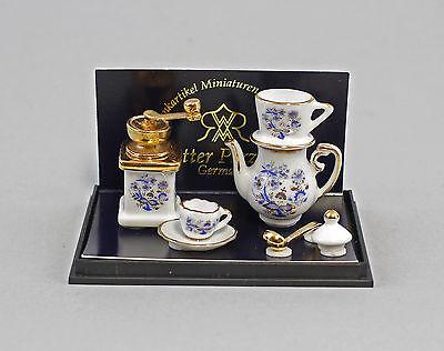 """11006 Reutter Puppenstuben-Miniatur """"Kanne mit Kaffeefilter"""" Porzellan"""