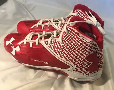Under Armour Mens Size 11.5 Deception Hybrid Metal Baseball Cleats Red $110