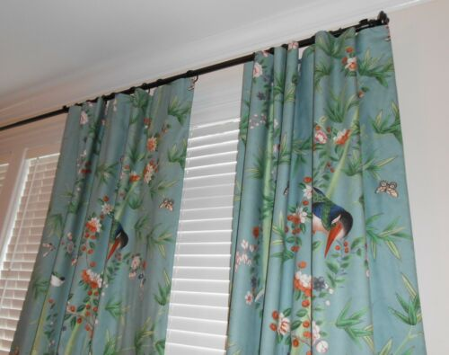 Schumacher fabric Custom drapes BRIGHTON PAVILION printed Floral Birds new PAIR