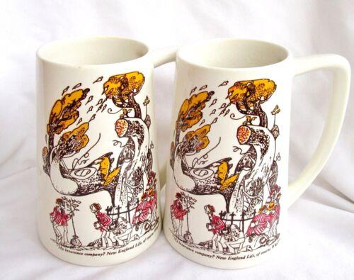Vtg NEW ENGLAND LIFE INSURANCE Mugs 2 Large ROWLAND B. WILSON