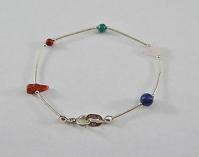 """Vintage Southwestern 925 Sterling Silver Carolyn Pollack Gemstone Bracelet 7"""""""