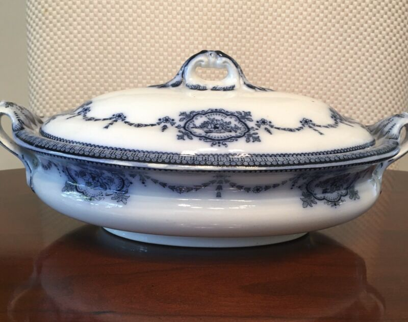 Maling Cetum Ware Lesbury Covered Dish Antique Semi Porcelain Blue
