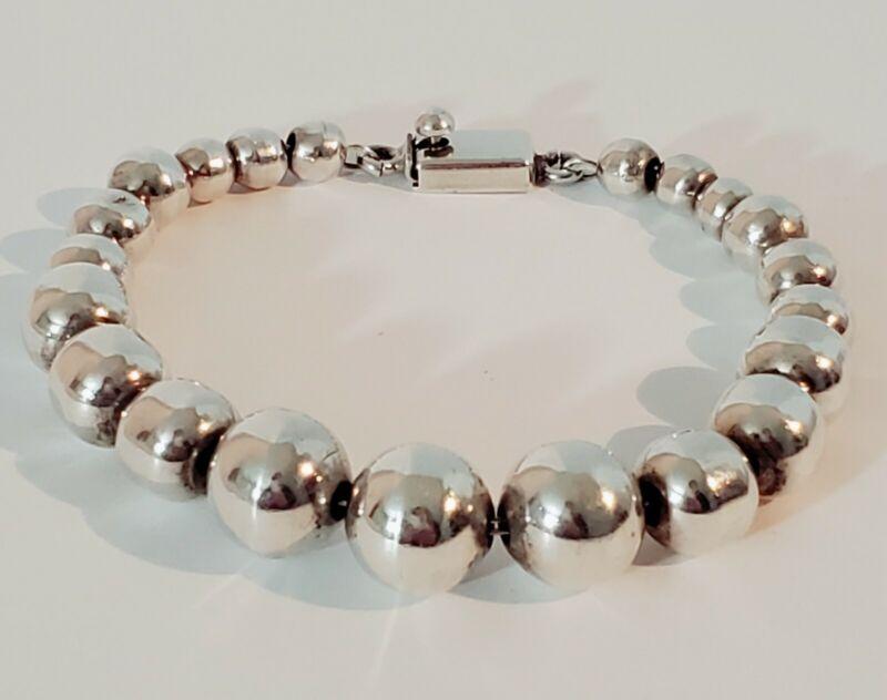 "Vintage Taxco Sterling Silver 925 Gradual Ball Bead Bracelet 8.5"""