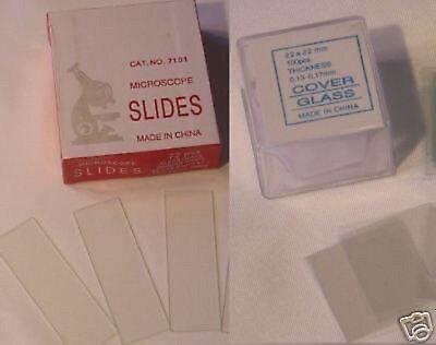 Blank Microscope Set 72 Slides 100 Cover Glass Slips 2222