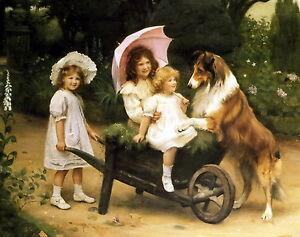 Print Victorian Children Sister White Lace Bonnet Parasol Wheelbarrow Collie Dog