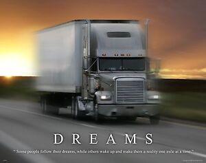 Semi Truck Driver Motivational Poster Art Print Truck Stop Vintage Parts MVP364