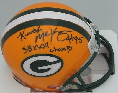 (Packers KEITH McKENZIE Signed Riddell Mini Helmet AUTO w/ SB XXXI Champs)
