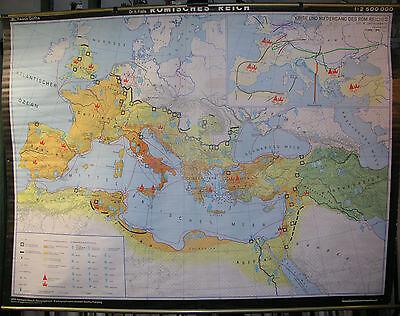 Schulwandkarte Beautiful Old Roman Empire 1980 214x160 Vintage Map Caesar Nero