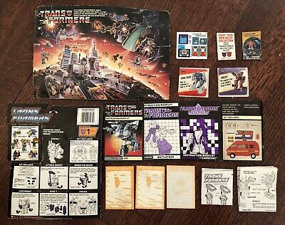 Transformers G1 1985 Vtg Lot Instruction Booklet Reflector Sticker Sheet Jazz