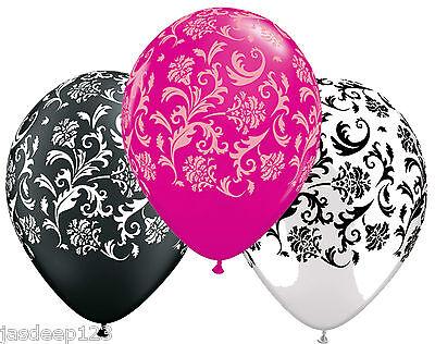 Damask Balloons Pink White Black Print Qualatex Helium Air Wedding Party 11