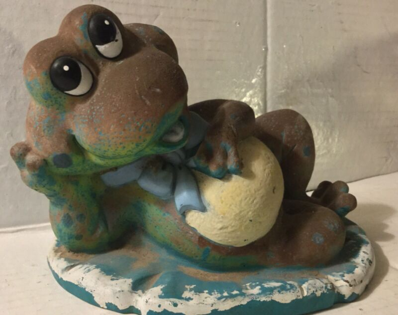 Vintage Sand Filled Frog Figurine 🐸 Patio Lawn Garden Novelty Statues