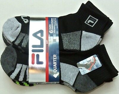 (FILA Men's Socks 6 Pack Quarter Crew SZ Large Black Grey Cushioned Dry Athletic)