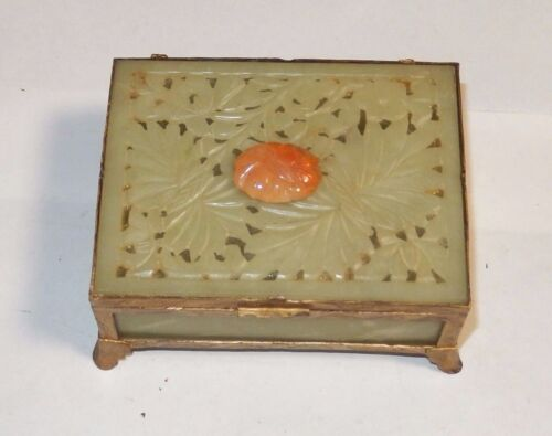 CHINESE SIX PANEL FLORAL CARVED TOP WHITE JADE & AGATE HUMIDOR JAR BOX