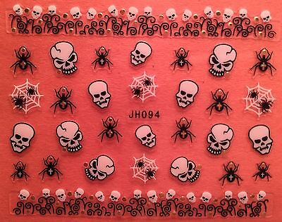 Nail Art 3D Decal Stickers Halloween Skull Skeleton Spider Web JH094 - Halloween Spider Nails