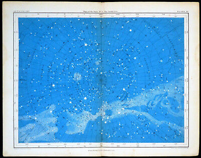 MAPS OF THE STARS - THE SOUTH POLE 1856 Alex Johnston ANTIQUE CHART