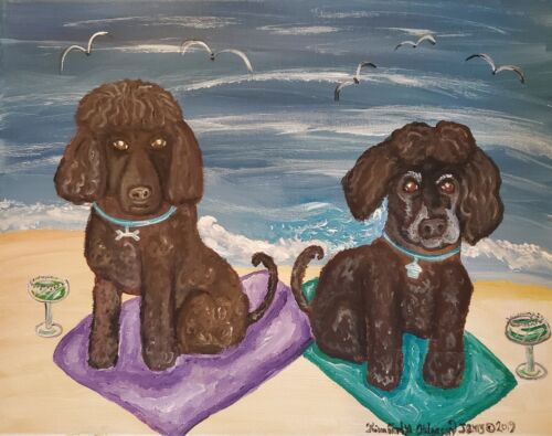 IRISH WATER SPANIEL on the Beach Collectible Dog Art Print 8 x 10 Signed KSAMS