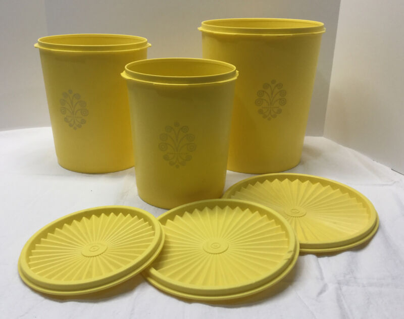 Vintage Tupperware Servalier 3 Piece Nesting Canister Set Floral Yellow
