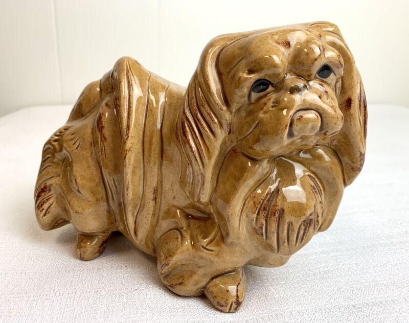"Vintage CERAMIC FIGURINE STATUE   Pekingese Dog / 8"" Long    Hand Cast & Painted"