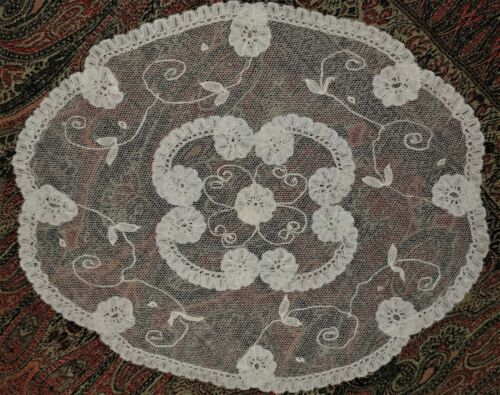 """Antique Brussels Princess Net Handmade Lace Small Doily 8"""" x 7.5"""""""