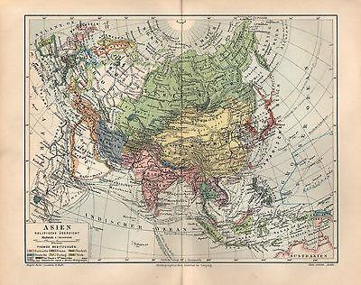 Asien  Politische Übersicht  Staatenkarte Lithographie 1906 Fremde Besitzungen