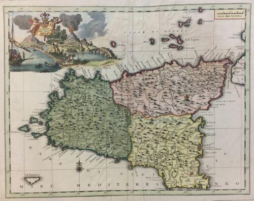 Antique Original Map of SICILY 1700s