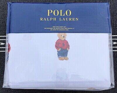 Ralph Lauren Polo White Cotton Teddy Bear 4 PC King Sheet Set New 4' White Teddy Bear