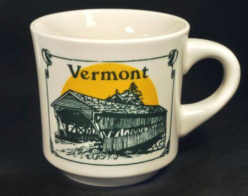 Vintage Coffee Mug Cup Vermont Covered Bridge Green & Gold Sunrise New England