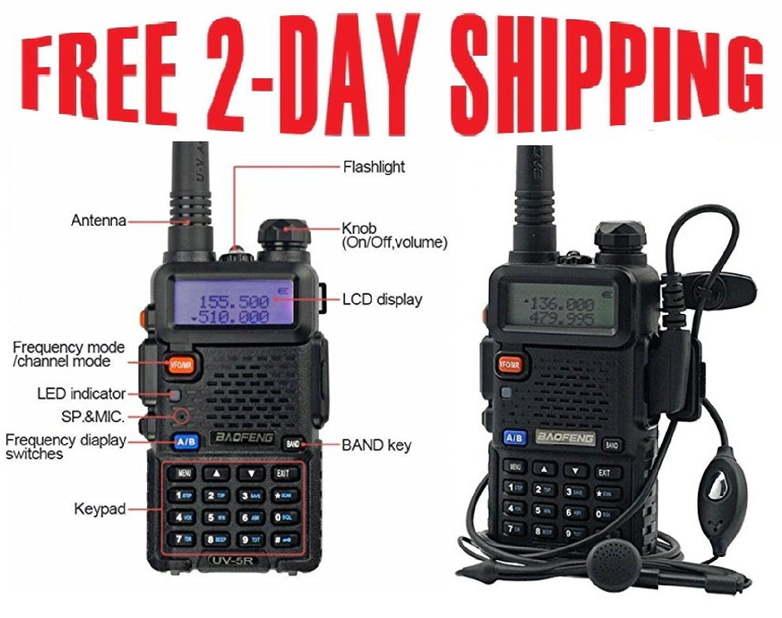 Radio Scanner Handheld Police Fire Two Way Radio Transcei...
