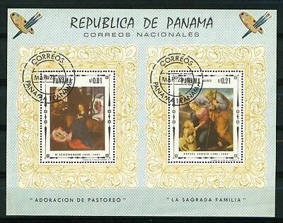 Panama 1968 Airmail - Religious Art Mini Sheet of stamps. Used.